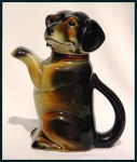 Click here to enlarge image and see more about item H026:  Erphila figural dachshund teapot