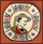 Click here to enlarge image and see more about item H082: Quimper octagonal plate (HB Quimper).