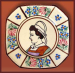Click here to enlarge image and see more about item H083: Quimper octagonal plate (HB Quimper)