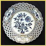 Click here to enlarge image and see more about item K020: Meissen hand-paint gilded reticulated plate