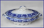 Click to view larger image of Flow Blue: MELBOURNE covered vegetable tureen (Image1)