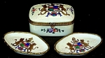 Antique French hand-painted box & trays