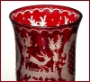 Click to view larger image of Bohemian ruby intaglio cut vases (Image3)