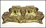 Click here to enlarge image and see more about item kr060: Antique brass inkwell set