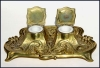 Click to view larger image of Antique brass inkwell set (Image3)