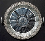 Click to view larger image of Heisey etched glass divided  serving platter in silver tray (Image1)