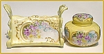 Antique deskset:  porcelain letter holder and inkwell set