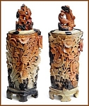 Click here to enlarge image and see more about item kr100ab: Pair of antique carved soapstone vases with lids