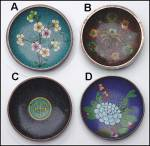 Click here to enlarge image and see more about item KR161:  Set of 4 small cloisonne dishes