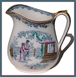 Click here to enlarge image and see more about item L019: Early Staffordshire polychrome large pitcher