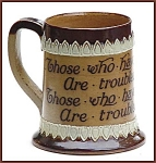 Click here to enlarge image and see more about item L063: Doulton stoneware motto jug