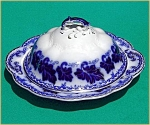 Click to view larger image of Flow Blue: NORMANDY butter dish (3 pc) (Image1)