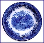 Click here to enlarge image and see more about item M059a: Flow Blue: COUNTRY SCENES serving bowl