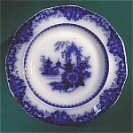 Click here to enlarge image and see more about item M061: Flow Blue: KAOLIN soup plate