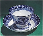 Click to view larger image of Flow Blue: TIVOLI cup and saucer set (Image1)