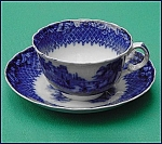 Click to view larger image of Flow Blue: ITALIA cup and saucer set (Image1)