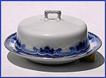 Click to view larger image of Flow Blue: THE OLYMPIC (IDRIS) covered butter dish (Image1)