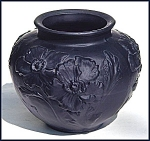 "Click here to enlarge image and see more about item M096: Tiffin Glass: Black amethyst ""Poppy"" vase"