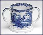 Click to view larger image of Flow Blue: WATTEAU loving cup (Image1)