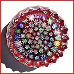 Peter McDougall: Close packed millefiori paperweight (red)