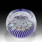 Click to view larger image of Peter McDougall: Millefiori in swirling basket paperweight (Image1)