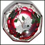 Click to view larger image of William Manson 2001: White flowers paperweight (Image1)