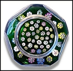Click here to enlarge image and see more about item P127: Whitefriars 1978: Faceted millefiori paperweight