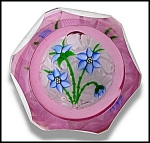 Click here to enlarge image and see more about item P134: �J� Glass: Blue clematis bouquet paperweight