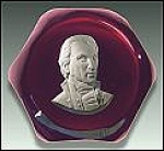 Click here to enlarge image and see more about item P149a: Baccarat 1955: James Monroe sulphide paperweight
