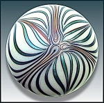 Click here to enlarge image and see more about item P161: Smyers Glass 1977: Art nouveau design paperweight