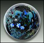 """Click to view larger image of Josh Simpson 1990: """"Inhabited planet"""" paperweight (Image1)"""
