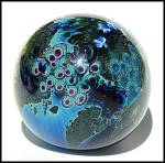 """Click to view larger image of Josh Simpson 1990: """"Inhabited planet"""" paperweight (Image3)"""