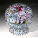 Click to view larger image of St. Louis 1976: Close pack millefiori piedouche paperweight (Image1)