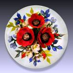 Rick Ayotte 1991: Red poppy bouquet paperweight