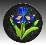 Mayauel Ward 2013: Blue �Flora Luna� iris & moon paperweight