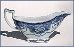Click here to enlarge image and see more about item Z013: Flow Blue: DOUGLAS gravy boat (Ford & Sons)