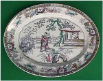 Click here to enlarge image and see more about item Z029: Early Staffordshire polychrome large platter