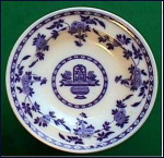 Click here to enlarge image and see more about item Z249: Flow Blue: DELFT soup bowl (Mintons)