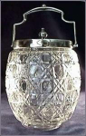 Click here to enlarge image and see more about item Z267: Glass Biscuit Jar with Silver Lid