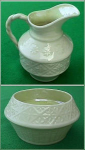 Click here to enlarge image and see more about item Z268: Irish Belleek sugar and creamer:
