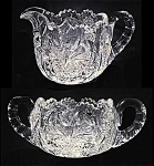 ABP Cut glass sugar and creamer (signed Clark)
