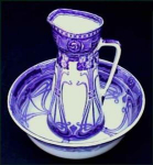 Click here to enlarge image and see more about item Z309FB: Flow Blue: AUBREY pitcher and wash bowl set