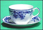 Click here to enlarge image and see more about item Z388M073: Flow Blue: DEL MONTE cup and saucer