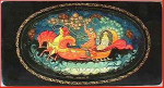 Click here to enlarge image and see more about item Z398: Russian lacquer box: Village of Mstera