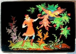 Click here to enlarge image and see more about item Z402: Russian lacquer box: Village of Palekh