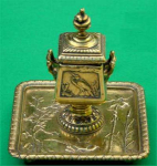 Click here to enlarge image and see more about item Z484: Antique Brass Inkwell