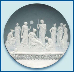Click here to enlarge image and see more about item Z497: Mettlach: Large cameo plaque (signed)