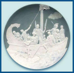 Click here to enlarge image and see more about item Z498: Mettlach: Large cameo plaque -Trojan warriors