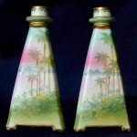 Click to view larger image of Nippon: Pair of scenic Egyptian candlesticks (Image1)