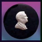 Click here to enlarge image and see more about item ZL140: Wedgwood jasper plaque: Franklin D. Roosevelt